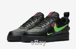 Nike Air Force 1 Lv8 Utilitaire Noir Ul / Hyper Rose / Vert Cri Royaume-uni 10, 11