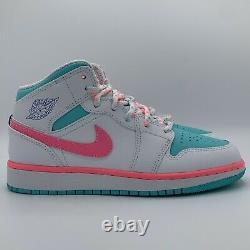 Nike Air Jordan 1 Blanc Vert MID Rose Numérique Gs Taille 4-5,5 555112-102 Nouveau