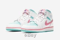 Nike Air Jordan 1 MID Blanc Rose Vert 555112-102 Enfant En Bas Âge Ps Gs Femmes Taille 5c-7y