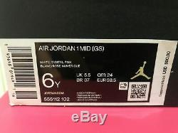 Nike Air Jordan 1 MID Gs Blanc Digital Rose Aurora Tailles Vert 5.5 / 6 / 6.5 / 7
