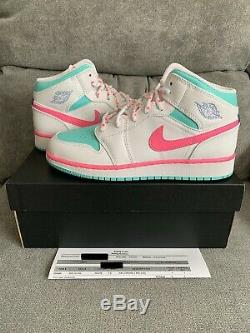 Nike Air Jordan 1 MID Numérique Blanc Taille Rose Vert 7y Withreceipt 555112-102