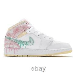 Nike Air Jordan 1 MID Se Gs Peinture Goutte À Goutte Rose Vert Blanc Femmes Dd1666-100