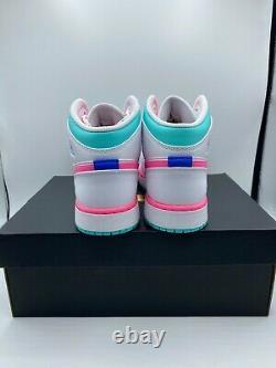 Nike Air Jordan 1 MID White Pink Green Soar (gs) 555112-102 Livraison Gratuite