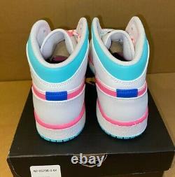 Nike Air Jordan 1 Retro MID Blanc Rose Vert Soar Sz 5-7 (gs) 555112-102