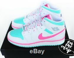 Nike Air Jordan 1 Retro MID Numérique Rose Aurora Vert Miami Gs Uk 4 5 6 7 Us Nouveau