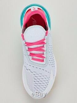 Nike Air Max 270 Rose Vert Gris Blanc Royaume-uni 7 Porté Une Fois Unboxed Formateurs Rrp £ 115