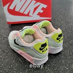 Nike Air Max 90 Blanc Volt Vert Glow Rose Gym Chaussures De Course Femmes Taille 7