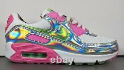 Nike Air Max 90 Sneakers Femmes Taille 7.5 Laser Fuchsia Illusion Vert Blanc Rose