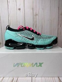 Nike Air Vapormax Flyknit 3 South Beach Hommes Taille 12 Vert Rose Noir Aj6900 323