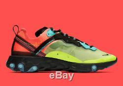 Nike Element 87 React Hyper Fusion Volt Vert Hyper Rose Aq1090-700 Running Hommes