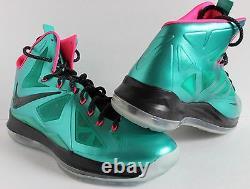 Nike Lebron 10 X ID James Collection Diamond Green-blak-pink Sz 12,5 578346-992