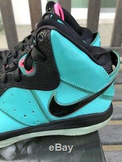 Nike Lebron 8 VIII Sz 11 South Beach Miami Rose Vert Nouveau Noir Lbj VIII Qs