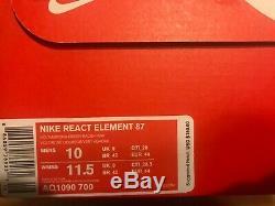 Nike React Element 87 Aq1090-700 Volt Vert Aurora Racer Rose Homme Taille 10 Nouveau