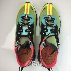Nike React Element 87 Hyper Fusion Volt Vert Hyper Rose Taille 11 Mens Aq1090-700