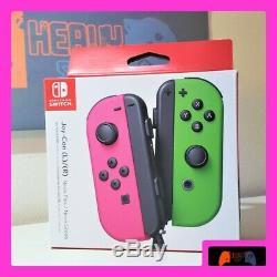 Nintendo Commutateur Gauche Et Droite Contrôleurs Joy-con Neon Pink / Neon Green (nouveau)
