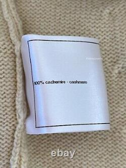 Nouveau $2800 11c Chanel Cashmere Jaune Vert Rose Cardigan CC Logo Chandail 42