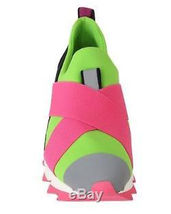 Nouveau 560 $ Chaussures Dolce & Gabbana - Baskets En Néoprène - Rose - Vert - Eu38 / Us7.5