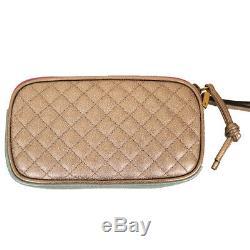 Nouveau $ 950 Gucci Rose Dionysus Vert Laminé Matelassée Iphone Embrayage Bracelet Sac