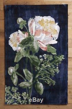 Nouveau Anthropologie Bleu Marine Vert Rose Ivoire Big Rose Bloomstudy Rug 8 X 10