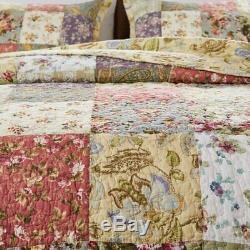 Nouveau! Belle Rose Floral Vert Rose Ivoire XXXL Jardin Couvre-lit Quilt Set