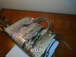 Nouveau Brahmin Anywhere Convertible Opal Blue Gold Pink Green Handbag Crossbody