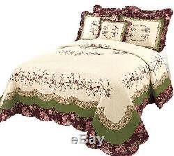 Nouveau! Chic XXXL Blanc Vert Rose Bourgogne Rose Floral Quilt Couvre-lit De Taille Plus
