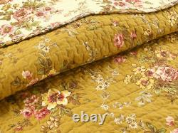 Nouveau! Confortable Shabby Chic Cottage Pink Red Green Leaf Brown Yellow Rose Quilt Set
