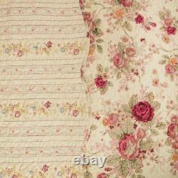 Nouveau! Cozy Cottage Chic Shabby Ivoire Rose Rouge Vert Rose Jaune Jeu De Courtepointe