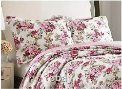 Nouveau Cozy Cottage Chic Shabby Rose Rouge Violet Blanc Rose Vert Jeu De Courtepointe