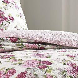 Nouveau! Cozy Cottage Chic Shabby Rose Violet Blanc Vert Feuille Courte