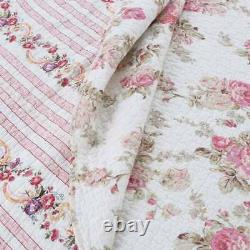 Nouveau! Cozy Shabby Chic Country Pink Green Leaf Purple Red Ivory Rose Quilt Set
