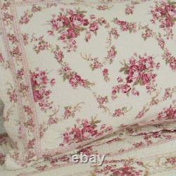 Nouveau! Cozy Shabby Chic Country Rose Rouge Vert Ivoire Rose Soft Elegant Set De Courtepointe