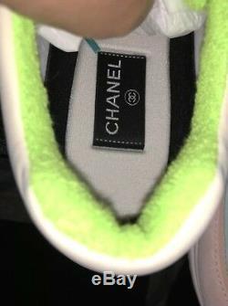 Nouveau Dans La Boîte Chanel 19c CC Logo Vert Violet Rose Baskets À Lacets En Daim Sz 10 41