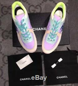 Nouveau Dans La Boîte Chanel 19c CC Logo Vert Violet Rose Baskets À Lacets En Daim Sz 11 42