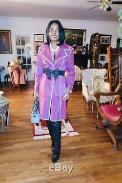 Nouveau Designer Fendi Couture Manteau Manteau Veste S 42 4-8 En Fourrure De Poney Rose Et Daim Vert
