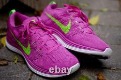 Nouveau Femmes Nike Flyknit Lunar1+ Taille 9 Rose/vert/blanc Chaussures De Running Nike Plus