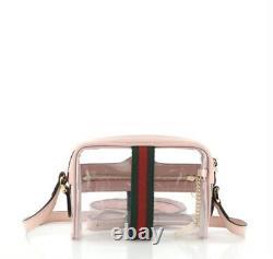 Nouveau Gucci Authentic Women's Ophidia Crossbody Mini Bag Transparent Rose Vert Rouge Gg