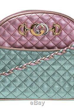 Nouveau Gucci Trapuntata Sac Bandoulière Matelassée Vert Métallique Rose Bronze Sac