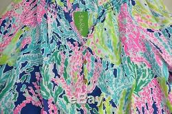 Nouveau Lilly Pulitzer Blouse En Soie Elsa Top Indigo Cha Cha Rose Vert Marine Xs S L XL