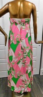 Nouveau Lilly Pulitzer Nouveau Rose Vert Blanc Floral Strapless Robe Maxi Sz 10
