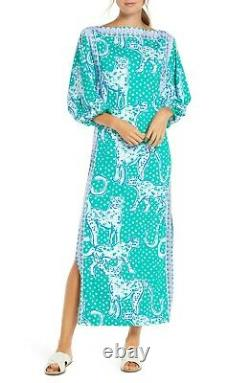 Nouveau Lilly Pulitzer Silva Maxi Dress Emerald Isle On The Prowl Green MIDI Rose 0