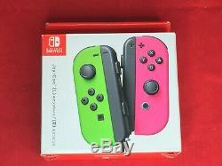 Nouveau Nintendo Commutateur Splatoon 2 Joy-con Neon Vert Et Rose Néon Contrôleur Japon