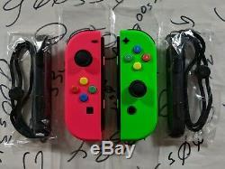 Nouveau Nintendo Switch Original Neon Pink (l) Et Green (r) Joy Cont Avec Les Boutons Snes