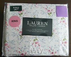 Nouveau Ralph Lauren Cotton 4pc White Pink Blue Green Floral Sheet Set King