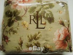Nouveau Ralph Lauren Couette Pleine Reine Yorkshire Rose Floral Rose Vert Cordonnet Rare