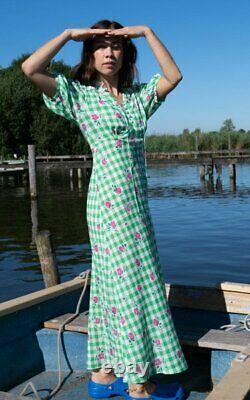 Nouveau Rixo Gwen Gingham Rose Robe Rose Vert Taille L XL