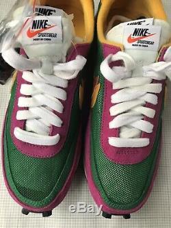 Nouveau Sacai Nike LDV Waffle Rose Suede Pin Vert Mesh Sneakers Uk 6 Eur 39 6,5