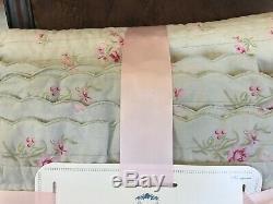 Nouveau Simplement Shabby Chic Roi Quilt Mint Green Pink Roses Floral Festonnée