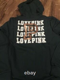Nouveau Victoria Secret Pink Dark Ivy Green Gold Bling Hoodie / Jogger / T-shirt Set