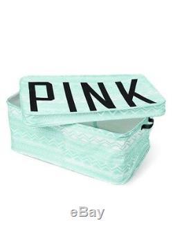 Nouveau Victoria's Secret Pink Dortoir Coffre De Rangement Imprimé Aztèque Vert Menthe Blanc Rare